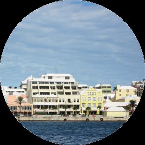 Front Street, Hamilton, Bermuda as seen from the Hamilton Harbour